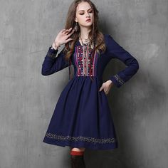 Cheap dress vestidos, Buy Quality women boho directly from China pleated dress Suppliers: 2018 New Long Sleeve Bohemian Linen Pleated Dresses Women Boho Embroidery Belt Ethnic Empire Square Collar Casual Dress Vestidos Vintage Dresses 50s, Vestidos Vintage, Retro Dress, Afghan Clothes, Afghan Dresses, Crochet Dresses, Designer Kurtis, Designer Dresses, Belted Dress