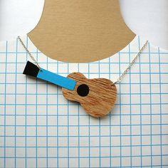 Wooden Guitar Necklace by Lucie Ellen