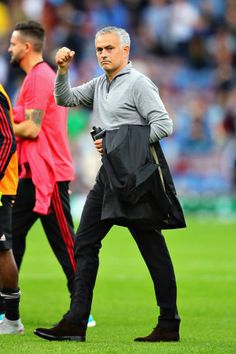 Manager of Manchester United Jose Mourinho celebrates after winning the Premier League match between Burnley FC and Manchester United at Turf Moor on September 2018 in Burnley, United Kingdom. Burnley Fc, Premier League Matches, Manchester United, Management, Celebrities, Celebs, Man United, Celebrity, Famous People