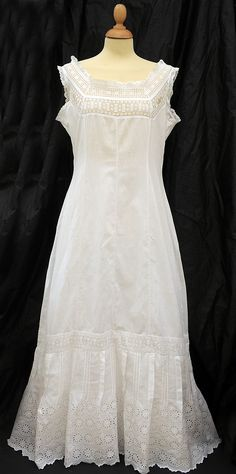 VICTORIAN/EDWARDIAN PETTICOAT-SUMMER TEA DRESS NOW-BRODERIE ANGLAISE-SO PRETTY!! | eBay
