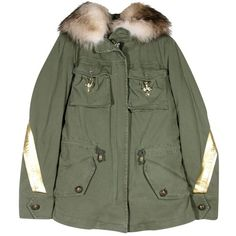 Project Foce Dina Jacket (€655) ❤ liked on Polyvore featuring outerwear, jackets, army green jacket, fur jacket, embellished jacket, embellished military jacket and green field jacket