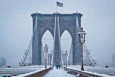 Brooklyn Bridge After A Snowfall, NYC