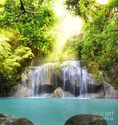 ✮ Second level of Erawan Waterfall in Kanchanaburi Province, Thailand