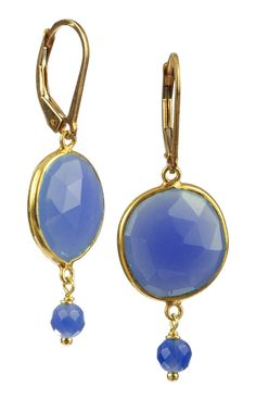 Gold-Plated Sterling Silver Blue Onyx Bezel Drop Earrings >>> Click on the image for additional details.-It is an affiliate link to Amazon.
