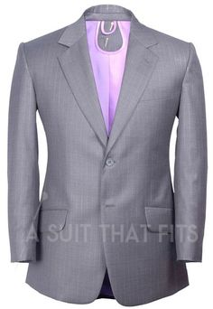 Light Grey Distinguished Two Piece Suit with a violet lining.