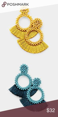 "Lola Hoops • Color : Gold, Teal • Theme : Fringe, Tassel  • Size : 3"" X 3.5"" • Post Back • Material : Lead and nickel compliant • Oversized Beaded Hoop Fan Tassel Ea Jewelry Earrings"