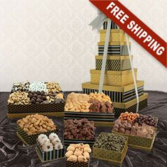 Celebrate in style with this classic black and gold Snack Tower Gift Set, each filled with something delicious! Christmas Gift Baskets, Christmas Gifts, Holiday, Gourmet Baskets, Snack Box, Make A Gift, Fresh Fruit, Goodies, Tower