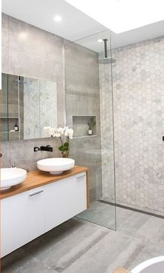 Dreaming of an extravagance or designer master bathroom? We have gathered together lots of gorgeous master bathroom a few ideas for small or large budgets, including baths, showers, sinks and basins, plus bathroom decor tips. Bathroom Inspo, Bathroom Layout, Modern Bathroom Design, Bathroom Inspiration, Bathroom Ideas, Restroom Ideas, Tile Layout, Bath Ideas, Bathroom Renos
