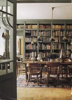 Library dining..what a great way to add interest to a plain dining room...and you could put a lot of collectibles on the shelves and make it very decorative...plus you could use the table for research and writing. This reminds me of our living room.