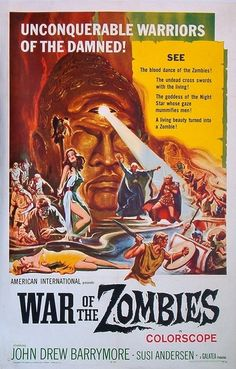 "War of the Zombies aka Rome Against Rome/ ""Roma contro Roma"" (original title) Stars: John Drew Barrymore, Susy Andersen, Ettore Manni ~ Director: Giuseppe Vari Horror Movie Posters, Cinema Posters, Movie Poster Art, Horror Movies, Zombie Movies, Scary Movies, Old Movies, Vintage Movies, Vintage Horror"