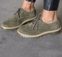 BRONX | green suede brogues