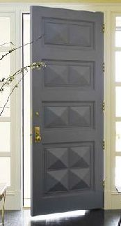 Love this front door but in espresso brown. Katie Ridder- grey paneled door