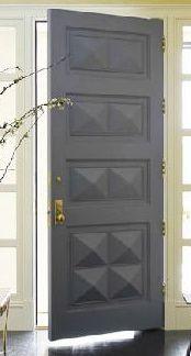 Love this front door but in espresso brown. Katie Ridder- grey paneled door