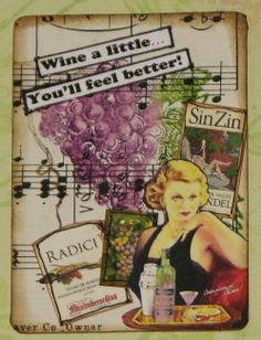 Wine a Little ATC - Vintage Sheet Music, AP Collage Sheets & BLine Deisgns Stamp