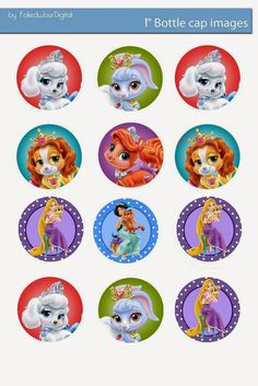 "Folie du Jour Bottle Cap Images: Disney Palace pets 1"" inch free digital bottle cap images"