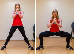Wide squats target your butt and inner thighs. Hold your hands together in front of your chest. Step your feet apart so there's about 20 inches between your heels. Point your toes out slightly. Bend your knees and elbows. Keep your shoulders over your hips and lower down so your weight is back in your heels. Then straighten your legs and arms. This is one repetition. Complete two sets of 10 reps. Source: Megan Wolfe Photography at J K Fitness Studio