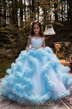 New Arrival Pageant Dresses for Girls Glitz O-Neck Beading Ball Gown Flower Girls Dresses Princess Wedding Gown Vestidos Longo Girls Pageant Dresses, Gowns For Girls, Dresses Kids Girl, Ball Dresses, Dresses For Children, Blue Ball Gowns, Pageant Gowns, Dress Girl, Baby Dress