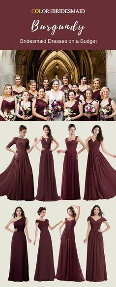 These burgundy bridesmaid dresses are the most welcomed styles in a fall or winter wedding. They are all made of chiffon and sold under 100. They are all custom made to all sizes. How cheap and affordable these bridesmaid dresses are! #BurgundyWeddingIdeas