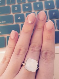 Pink nails & pandora mother of pearl ring