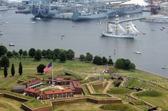 """Fort McHenry NM &HS, Baltimore, MD Fort McHenry, the Battle of Baltimore """"During the War of 1812, the brick fort defended the Baltimore harbor and stopped a British advance into the city. It was the valiant defense of the fort by 1,000 Americans that inspired Francis Scott Key, a lawyer and amateur poet,to compose the Star Spangled Banner, originally entitled 'Defense of Fort McHenry'."""""""