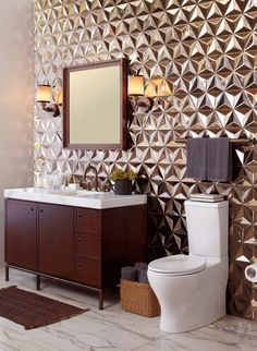 "Vir Stil bathroom collection with Kallista Plié toilet paired with ANN SACKS Ogassian 12"" japanese geo ceramic tile in metallic bronze. Gorgeous."