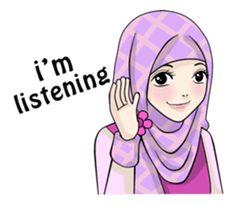 Sweet Hijab Girl - Stiker LINE   LINE STORE Emoji People, Cute Drawings Of Love, Moslem, Hijab Cartoon, Cute Cartoon Girl, Line Store, Cute Love, Islamic Quotes, Have Fun