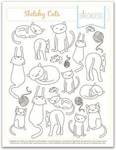 Riscos de gatinhos fofos para bordar | Arte com Tecidos