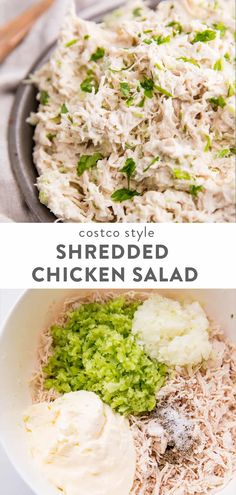 Shredded Chicken Salad (Costco Style) <br> A delicious and versatile shredded chicken salad recipe that tastes so much like Costco's. Great for baby and bridal showers, picnics, meal prep, it's naturally paleo, and low carb friendly. Shredded Chicken Salads, Chicken Salad Recipes, Healthy Salad Recipes, Recipe Chicken, Salad Chicken, Healthy Rotisserie Chicken Recipes, Simple Chicken Salad, Low Carb Chicken Salad, Keto Chicken