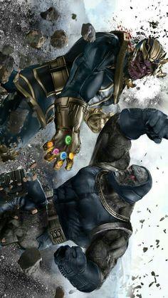 Something Marvel? Bit of both! — Thanos vs Darkseid by Uncannyknack. Arte Dc Comics, Dc Comics Vs Marvel, Dc Comics Art, Marvel Heroes, Captain Marvel, Captain America, Marvel Avengers, Comic Book Characters, Comic Character