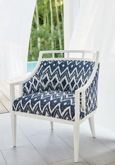 Malibu Chair in Indira woven fabric in Indigo from Thibaut Fine Furniture Outdoor Fabric, Indoor Outdoor, Outdoor Living, Cottage Dining Rooms, Living Room, Fine Furniture, Outdoor Furniture, Summer Loving, Beach House Decor