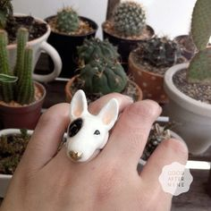 Bobo  English Bull terrier  Ring  Hand Painted by GOODAFTERNINE, $54.00