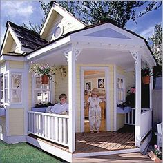 Cottage Playhouse - The Cottage Playhouse has a partial-wrap country porch, bay window with window box, shingled roof and an octagonal window in its large. Luxury Playhouses, Wendy House, Build A Playhouse, Backyard Playhouse, Wooden Playhouse, Fairy Tales For Kids, Little Houses, Outdoor Fun, Outdoor Lighting