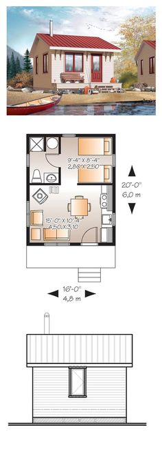 Tiny House Plan 76163 | Total Living Area: 320 sq. ft., 1 bedroom and 1 bathroom. #tinyhouse