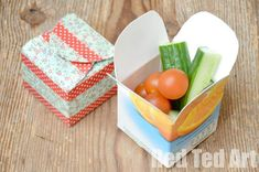 Juice Carton Craft - simple snack box - Juniper would love this. I could use her soy milk cartons.