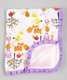 Another great find on #zulily! Pink & Purple Forest Animal Blanket by Caught Ya Lookin' #zulilyfinds