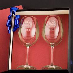 Regalos personalizados Regalos con nombre: Copas de vino grabadas para cumpleaños.   32€