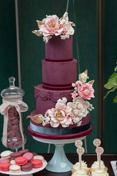Elegant purple velvet wedding cake; Featured: Truffle Cake and Pastry