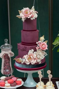 Elegant purple velvet wedding cake; Featured: Truffle Cake and Pastry