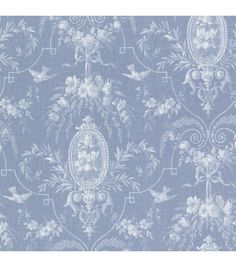 Flourish Blue Cameo Fleur Wallpaper