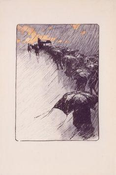 Henri Rivière:  Burial Procession with Umbrellas