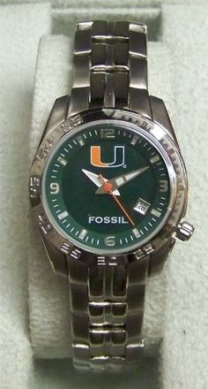 Miami Hurricanes Fossil Womens Sports Watch Li2975 -