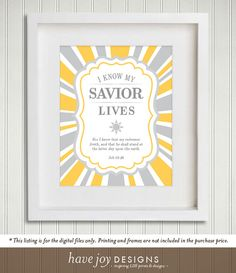 This is for a set of digital printable art files (in PDF format) of the 2015 LDS Primary theme, I Know My Savior Lives. The digital files come in 3