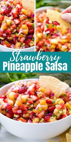Strawberry Pineapple Salsa will have everyone raving at your next party! People love the fresh, fruity zing from this tasty fruit salsa! #strawberrypineapplesalsa #salsa Fruit Recipes, Mexican Food Recipes, Appetizer Recipes, New Recipes, Cooking Recipes, Favorite Recipes, Pineapple Salsa Recipes, Pinapple Mango Salsa, Pineapple Salsa Canning Recipe