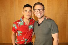 Name a better duo. I'll wait. Honestly makes me smile so much when I see rami and Christian together! They're both such lovely people and… Christian Slater, Best Duos, Mr Robot, Best Supporting Actor, Rami Malek, San Diego Comic Con, Make Me Smile, Hot Guys, Polo Ralph Lauren