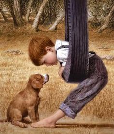 Eye to Eye by Jim Daly (This has a Norman Rockwell look to it.) Reminds me of my boys. Norman Rockwell Art, Norman Rockwell Paintings, Vintage Illustration, Beautiful Paintings, Beautiful Images, Dog Art, Oeuvre D'art, Vintage Children, Vintage Art