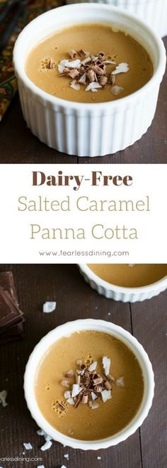 This thick and creamy salted caramel panna cotta is an easy dessert to make. Dairy free and vegan options, there is a caramel panna cotta recipe for everyone! Best Gluten Free Desserts, Easy To Make Desserts, Allergy Free Recipes, Fodmap Dessert Recipe, Paleo Dessert, Dessert Recipes, Pudding Recipes, Vegan Sweets, Vegan Desserts