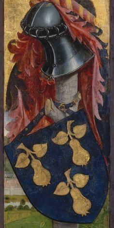 DATUM EST DE SUPER Armoiries et devise(?) d'Aloisius Rudolphe de Pérussis. -- The Pérussis Altarpiece, 1480.