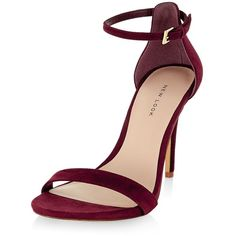 New Look Dark Red Suede Ankle Strap Heels ($23) ❤ liked on Polyvore featuring shoes, pumps, heels, new look, sandals, open-toe pumps, heel pump, new look shoes, dark red shoes and open toe shoes