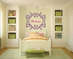 Wall Decals Custom Personalized Name Decal Initial Monogram Girl Frame Vinyl Sticker Girl Bedroom Nursery Baby Room Children Home Decor Dear
