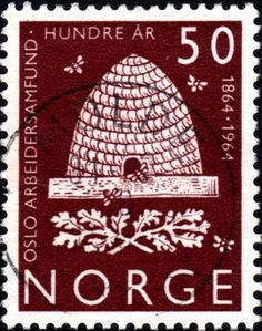 Bee Skep stamp from Norway.